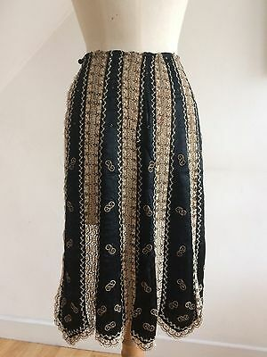 Victorian 1800s Apron Salon Bustle 5 Black Beaded Silk Panels Rare Pristine