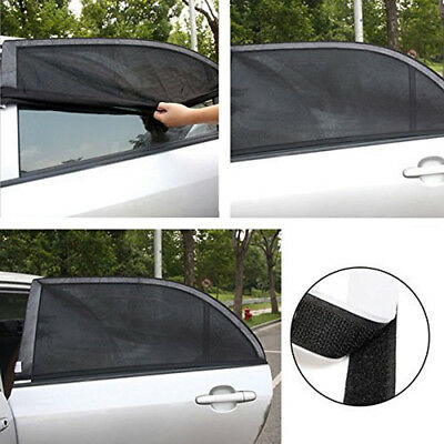2x Car Sun Shade Cover Rear Side Window Kid Protector Max UV Protection Black UK