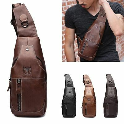 Men's Leather Casual Sling Bags Chest Shoulder Crossbody Satchel Messenger Bag