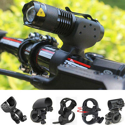 Bike Cycling LED Torch Flashlight Mount Clamp Clip Grip Bracket Holder Outdoor