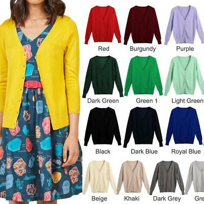 Women Spring Winter Knitted Button Down Cardigan Sweater Coat Jacket Tops Q8H4