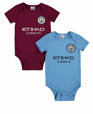 Manchester City Baby Core Kit 2 Pack Bodysuits | 2017/18 Season