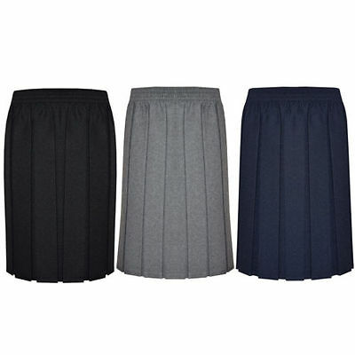 Girls/Ladies/Womens Skirt School Office Uniform Box Pleated Elasticated waist
