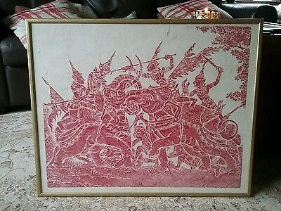 Vintage asian,Thai, Buddhist  red  cultural temple rubbing on rice paper framed