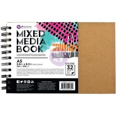 NEW Prima Marketing Mixed Media Spiral Bound A5 Kraft Book with 32 Sheets