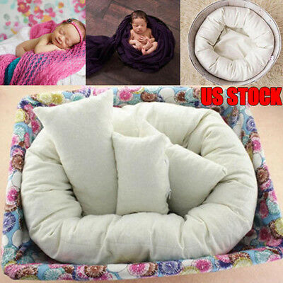 4 PCS Newborn Photography Basket Filler Wheat Donut Posing Props Baby Pillow US