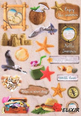 Feuille Decoupage Scrapbooking Vacances Mer Mouette Amour Coquillages Coco Plage