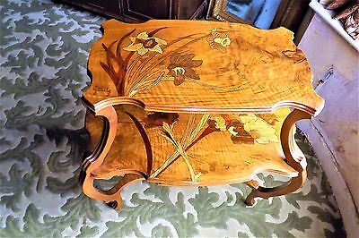 Galle Table 3 tier heavily inlaid walnut