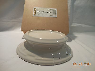 Longaberger Woven Traditions Pillar Candle Holder - IVORY - New in box