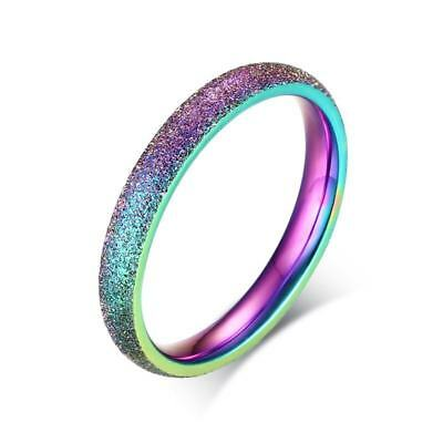 Size 5-9 Stainless Steel 3MM Rainbow Matte Band Women's Wedding Engagement Ring