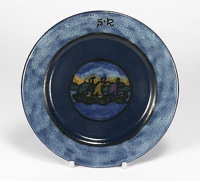 "PRP Saturday Evening Girls pottery 6"" triple ship plate arts & crafts blue"