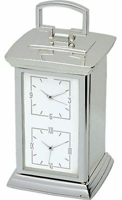 Two Timezone Carriage Clock With Silver Finish