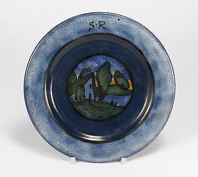 "PRP Saturday Evening Girls pottery 6"" house landscape plate arts & crafts blue"