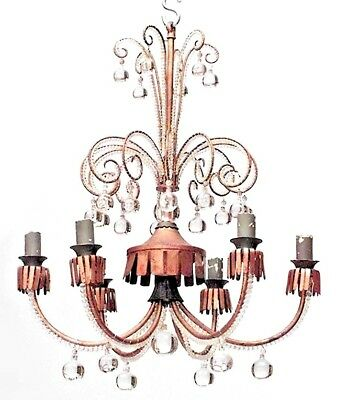French 1940s Gilt Metal Scroll Design 6 Arm Chandelier