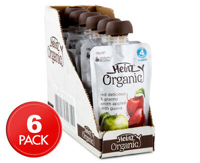 6 x Heinz Organic Baby Food Red Delicious & Granny Smith Apples w/ Guava Sachet