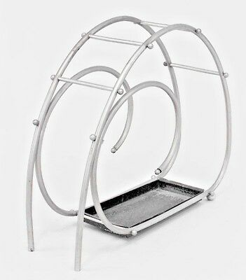 American Art Moderne Chrome Scroll Design Umbrella Stand
