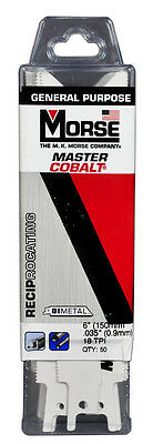 "MORSE Master Cobalt Reciprocating Saw Blade 6"" x 3/4"" 18 TPI RB618T50 (50 Pack)"