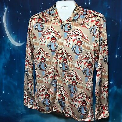 Givenchy For Chesa Large Men's Button Down Vintage Hippy Collar Stays Nylon (O)