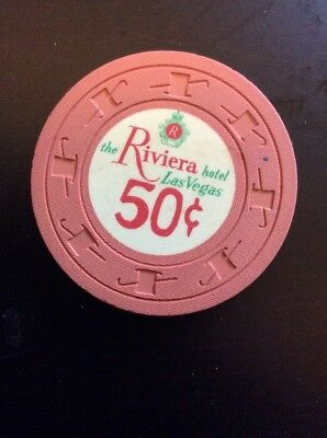 Riviera 50 Cent Casino Chip- Scarce 'hotel' Vintage Chip- Faded On One Side