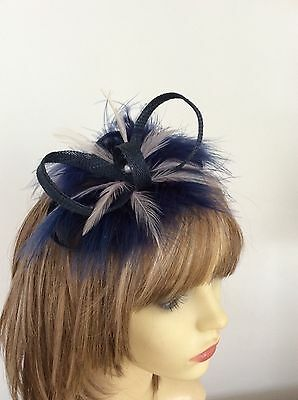 Navy Blue Fascinator   Hand Made