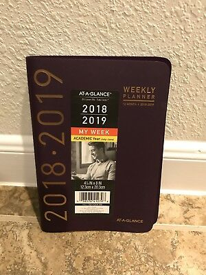 At-A-Glance 2018 2019 Calendar Planner Weekly Academic Fashion Purple Gold