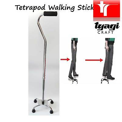 Strong Quad Walking Stick for More Stability Small 4 Leg Base Elderly Aid