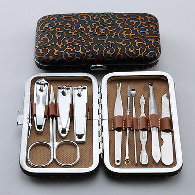 10 PCS Pedicure  Manicure Set Nail Clippers Cleaner Cuticle Grooming Kit Case