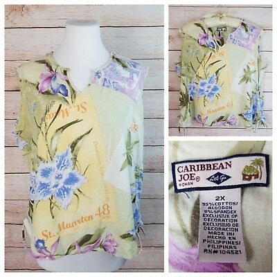 Caribbean Joe Woman 2X Sleeveless Cinch Top Yellow Floral Travel Island Stamps