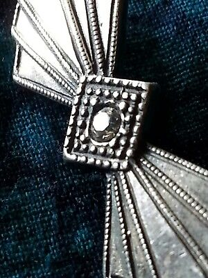 Vintage Sterling Silver Art Deco Pin Brooch Antique Diamond Costume 30s Gorgeous