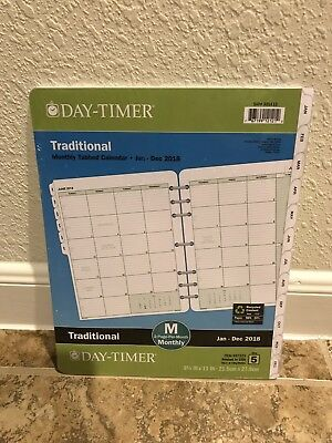Day-Timer Original Tabbed 2018 Planner Refill 2 Pages Per Month Size 5 White
