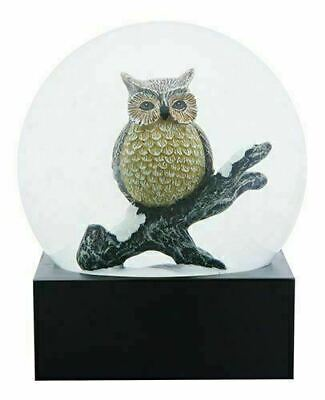 Black and Yellow Wise Owl on a Branch Decorative Water Globe