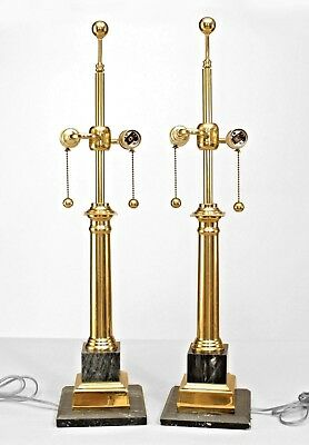 Pair of Mid-Century Modern Neo-Classic Style Brass and Marble Column Lamps