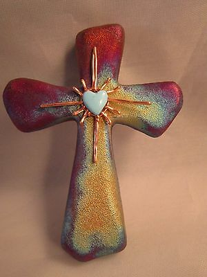"Raku Cross with Radiant Heart Design 2 3/4"" #RK330"
