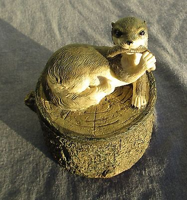 Vintage Trinket Box Otter on Trunk Paper Clip Pin Holder Paper Weight Rustic NEW