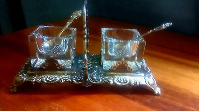 Antique Crystal Salt Cellars (2) with 800 Silver Spoons & 800 Silver Caddy