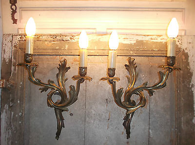 French a pair of patina bronze wall light sconces antique / vintage exquisite