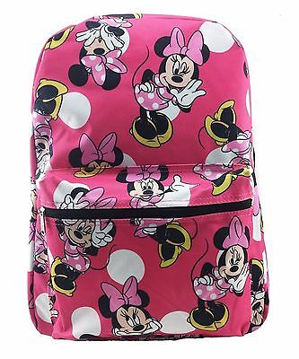 "Disney Junior Girl's Minnie Mouse All Over 16"" School Bag Backpack-Pink NWT"
