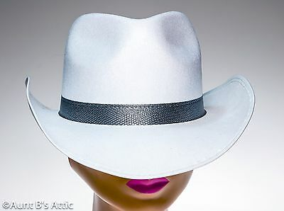 5df4aa96dec Cowboy   Cowgirl Hat White Pressed Felt Pinch Front Western Costume  Accessory