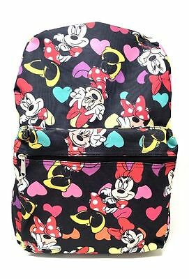 "NEW Disney Junior Girl's Minnie Mouse All Over 16"" School Bag Backpack-Black NWT"
