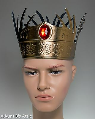 Medieval Antler Crown Gold Metallic Foam Based Wrap Around Crown With Red Jewel