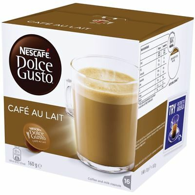 Bulk Buy - 4 x Nescafe Dolce Gusto Cafe Au Lait Coffee Capsules 16 Pack