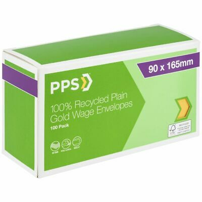 Bulk Buy - 3 x PPS Recycled Plain Wages Envelopes 90 x 165mm Gold 100 Pack