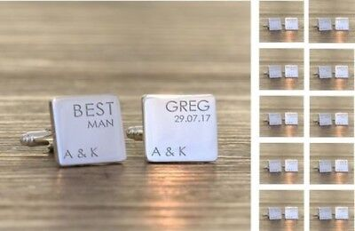 Personalised Engraved Wedding Party Role - Square Cufflinks FREE ENGRAVING