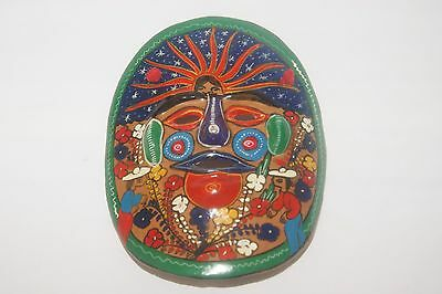 "Terra Cotta Red Clay Aztec Face Mask - 7 3/4"" x 6 3/4"""