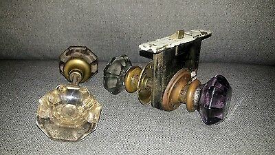 Lot (4) Antique 8 Point Cut Glass Crystal Door Knobs Amethyst & Clear
