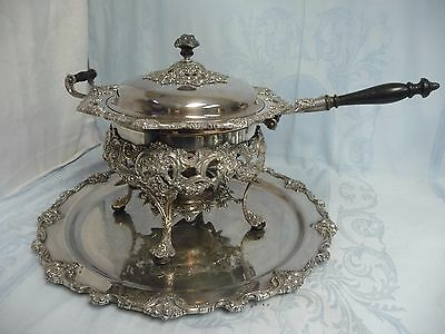 ORNATE 5 PIECE SILVER PLATE CHAFING SET w/MATCHING TRAY, INTERNATIONAL SILVER CO
