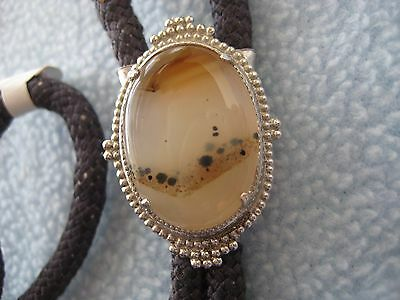 Vintage Milky White with Amber and Black Bolo tie