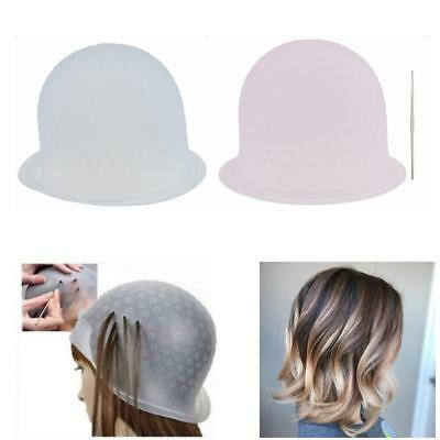 MagiDeal Reusable Silicone Dye Hat Hair Color Highlighting Hairdressing Cap+Hook