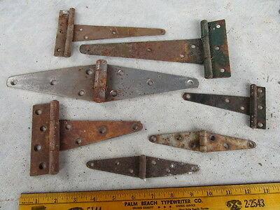 "Vintage Rusty Barn Door Gate Hinges - Lot of 7 - Measures 9"" to 6"" wide"