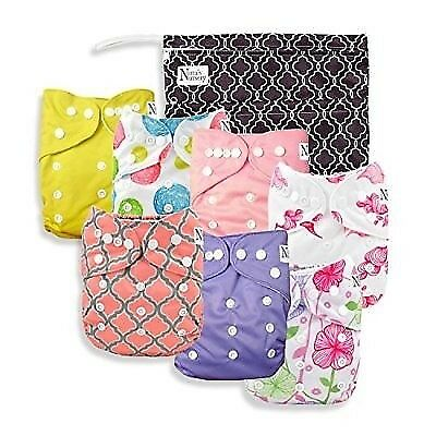 Baby Cloth Pocket Diapers 7 Pack, 7 Bamboo Inserts, 1 Wet Bag by Nora's Nu..